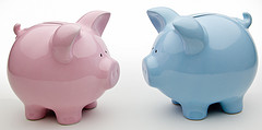 Blue And Pink Piggy Banks,