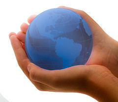Blue Earth In Child's Hands