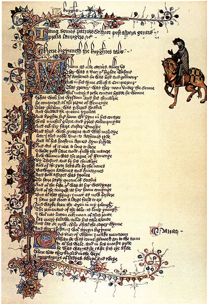 Ellesmere Manuscript circa 1400. [Public domain], from Wikimedia Commons. (CC PD-1996)