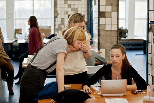 Ladies Working Laptop