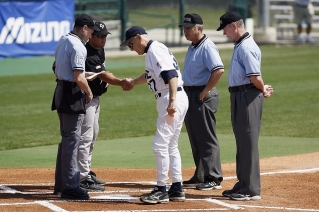 Coaches Umpires Pre-game Meeting Baseball